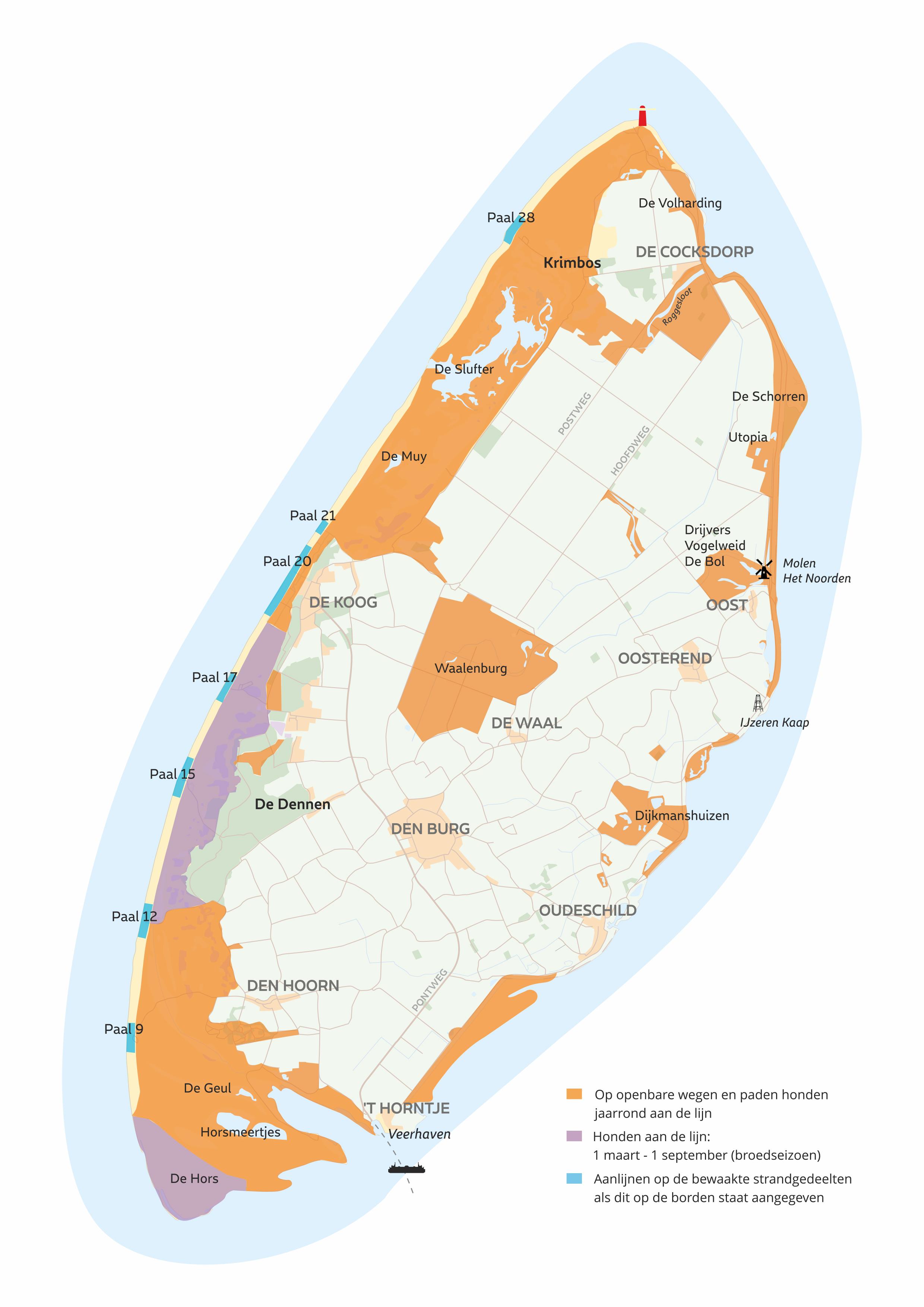 Aanlijnplicht hond kaart Texel VVV Texel