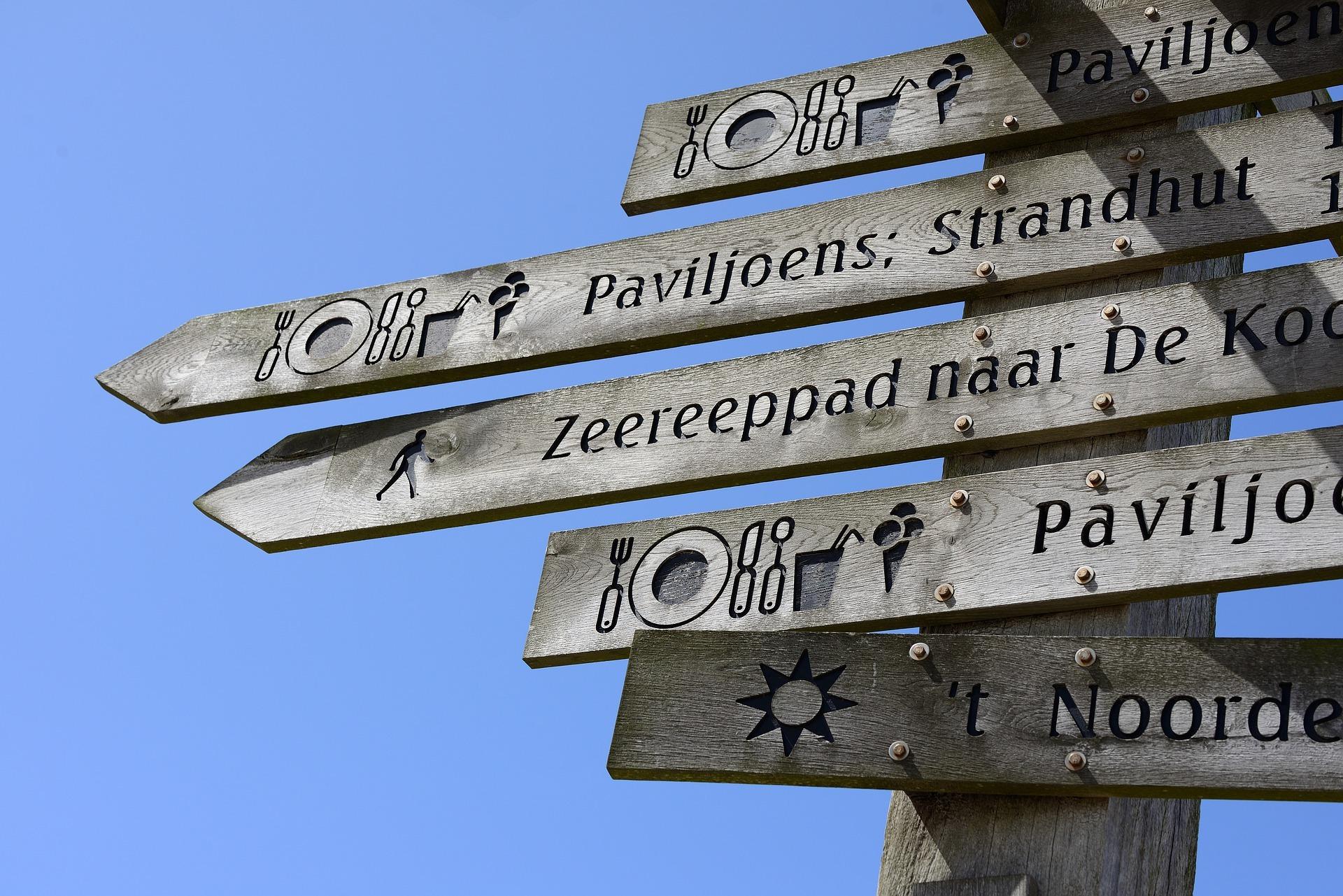 Wegwijsbord bij de Badweg in De Koog VVV Texel