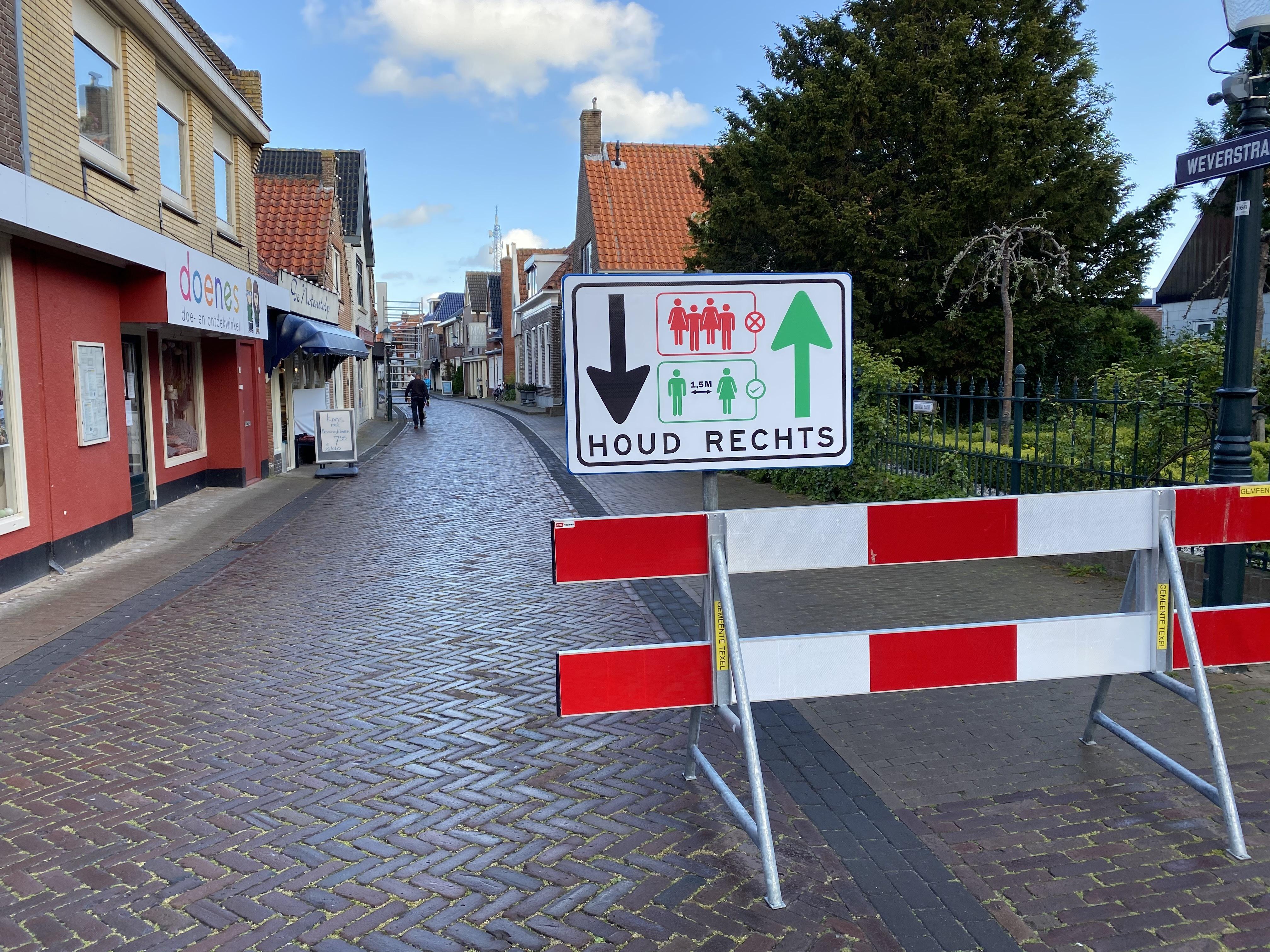 Corona maartregelen bord den burg VVV Texel