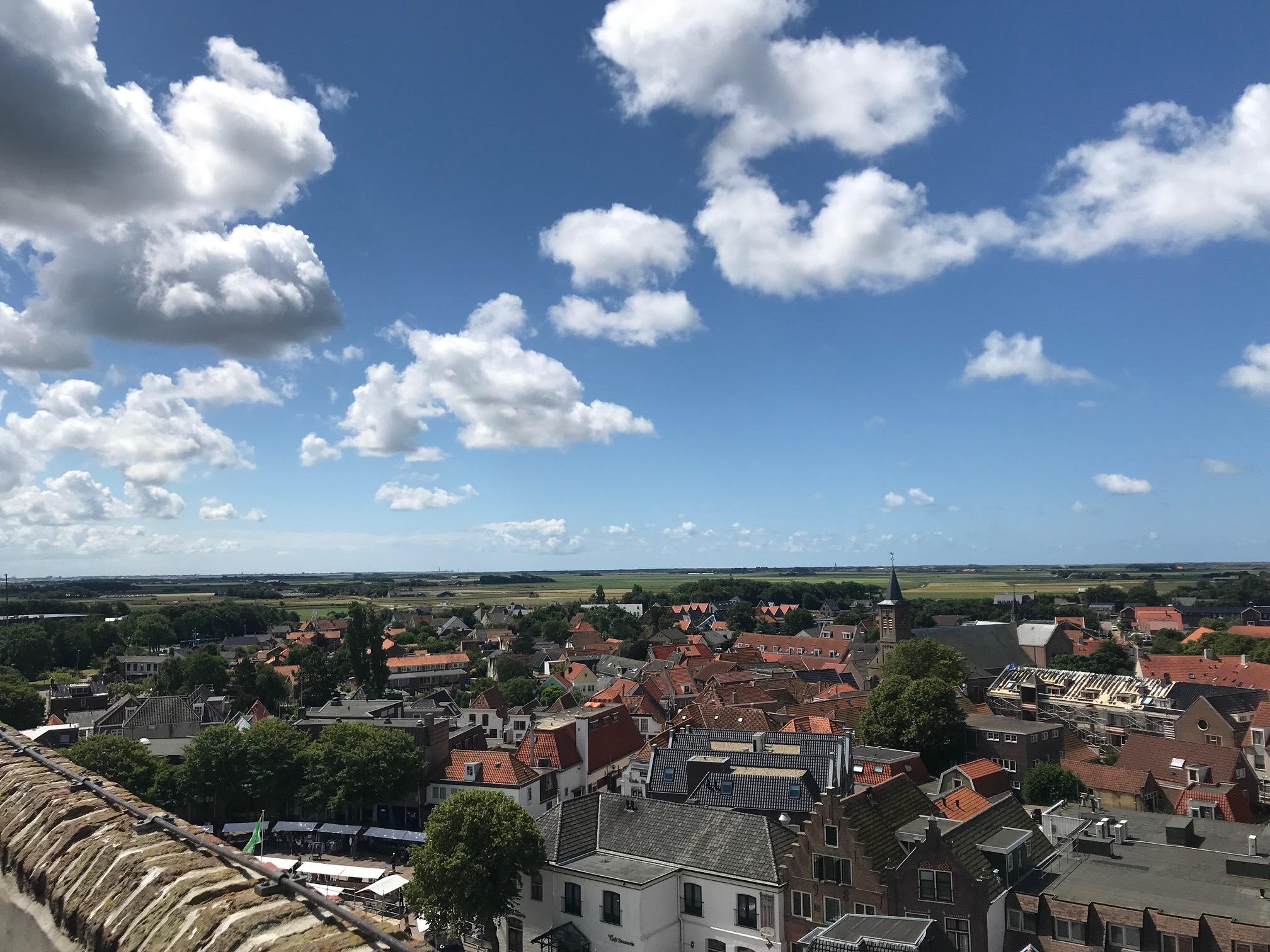 Uitzicht vanaf de kerktoren op Den Burg VVV Texel