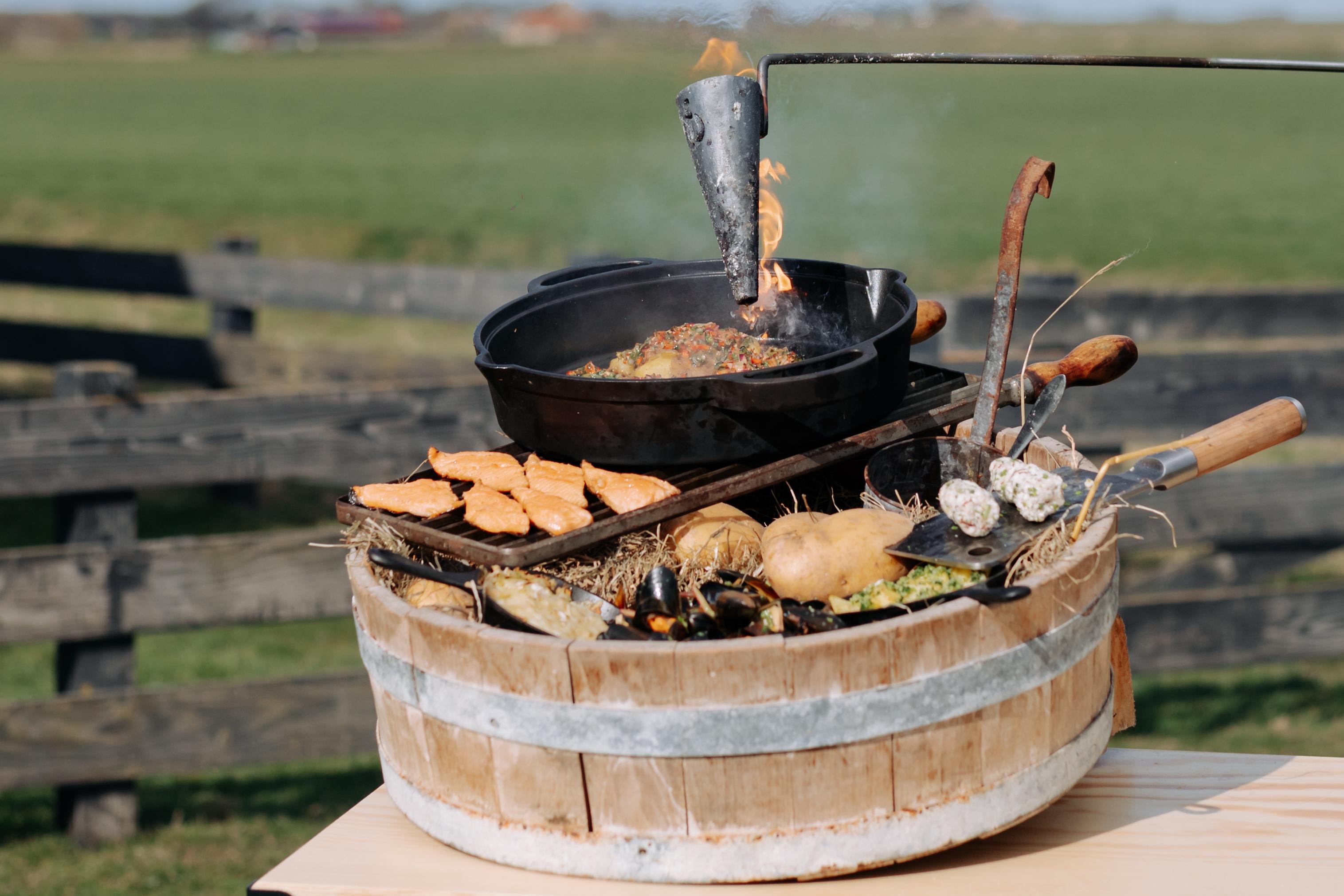 Aardappelen met mosselen met zalmforel BBQ Battle VVV Texel